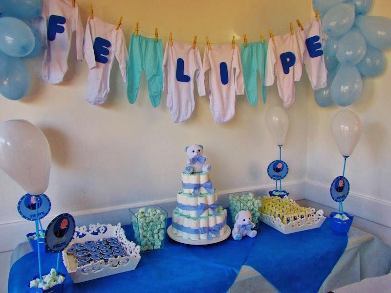 Decoração chá de bebê simples azul