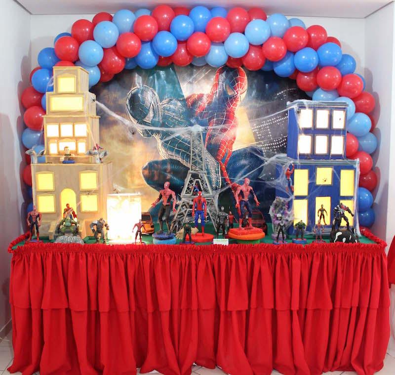 27 ideias para decoraç u00e3o de Festa Infantil Homem Aranha -> Decoração De Festa Simples Homem Aranha