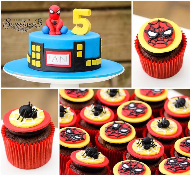 festa-infantil-homem-aranha-cupcakes