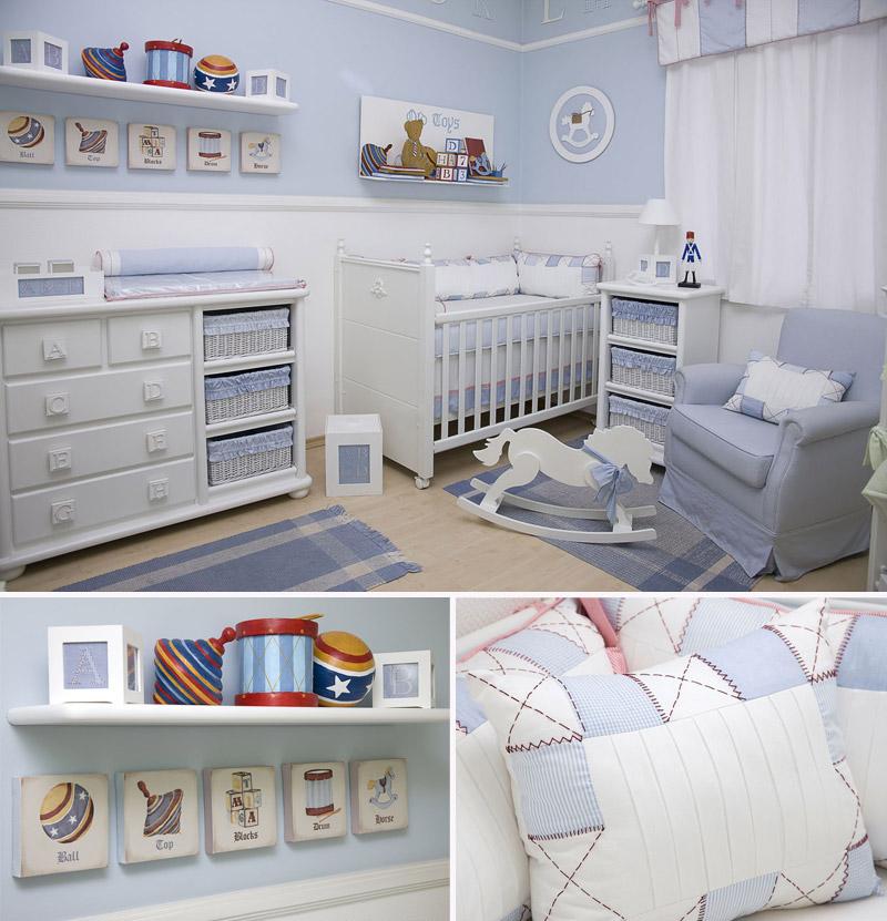 decoracao de quarto de bebe azul e amarelo:quarto-azul-bebê