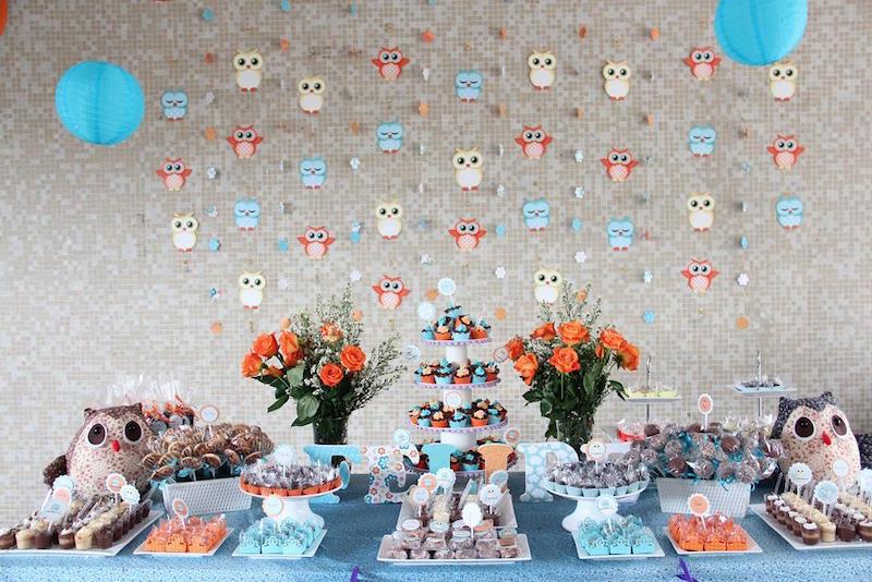 Chá de Bebê Coruja Ideias de decoração para meninos e