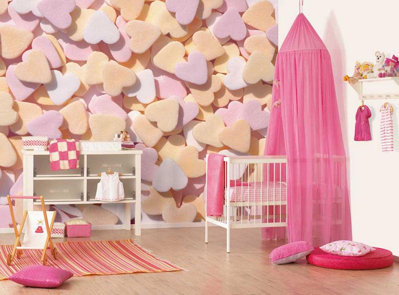 papel-deparede-para-quarto-de-bebê-corações