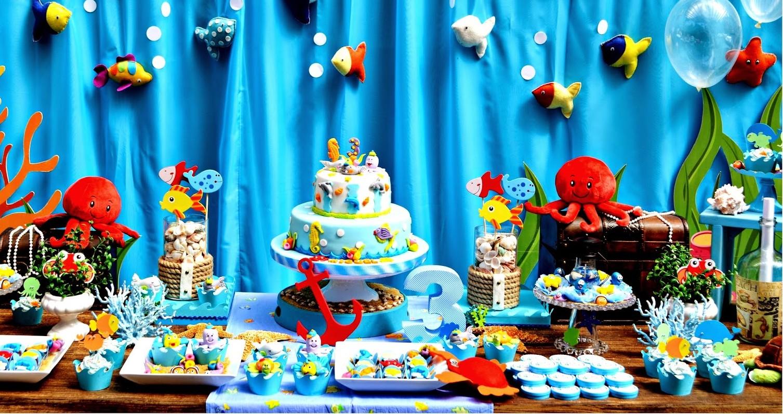Festa Infantil Com Decoração Completa Para Tema Fundo do Mar!