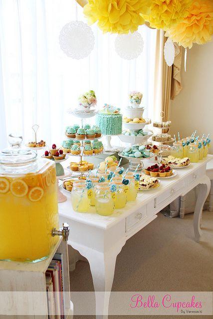chá de bebê meninas amarelo e azul