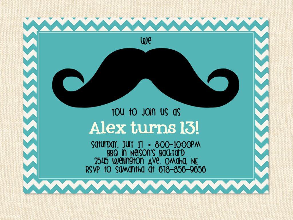 convite de aniversário bigode