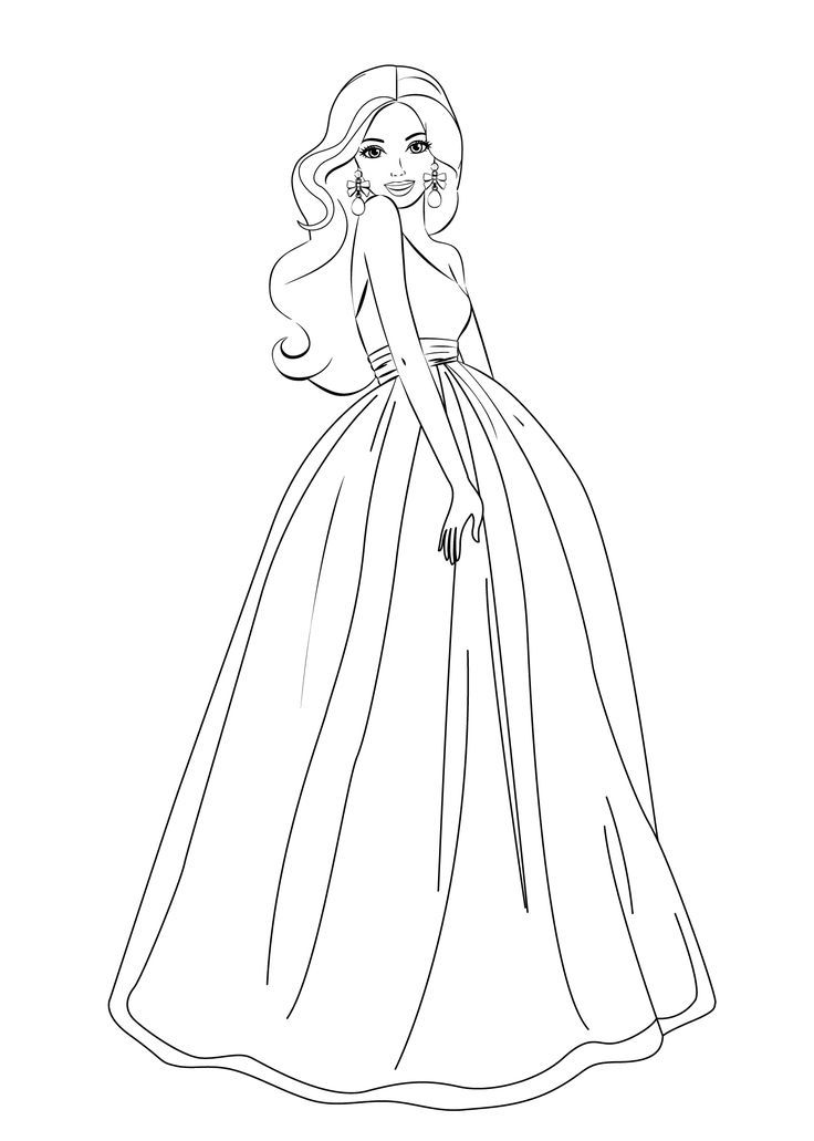 50 desenhos para colorir para voc imprimir e gr tis for Barbie dress up coloring pages