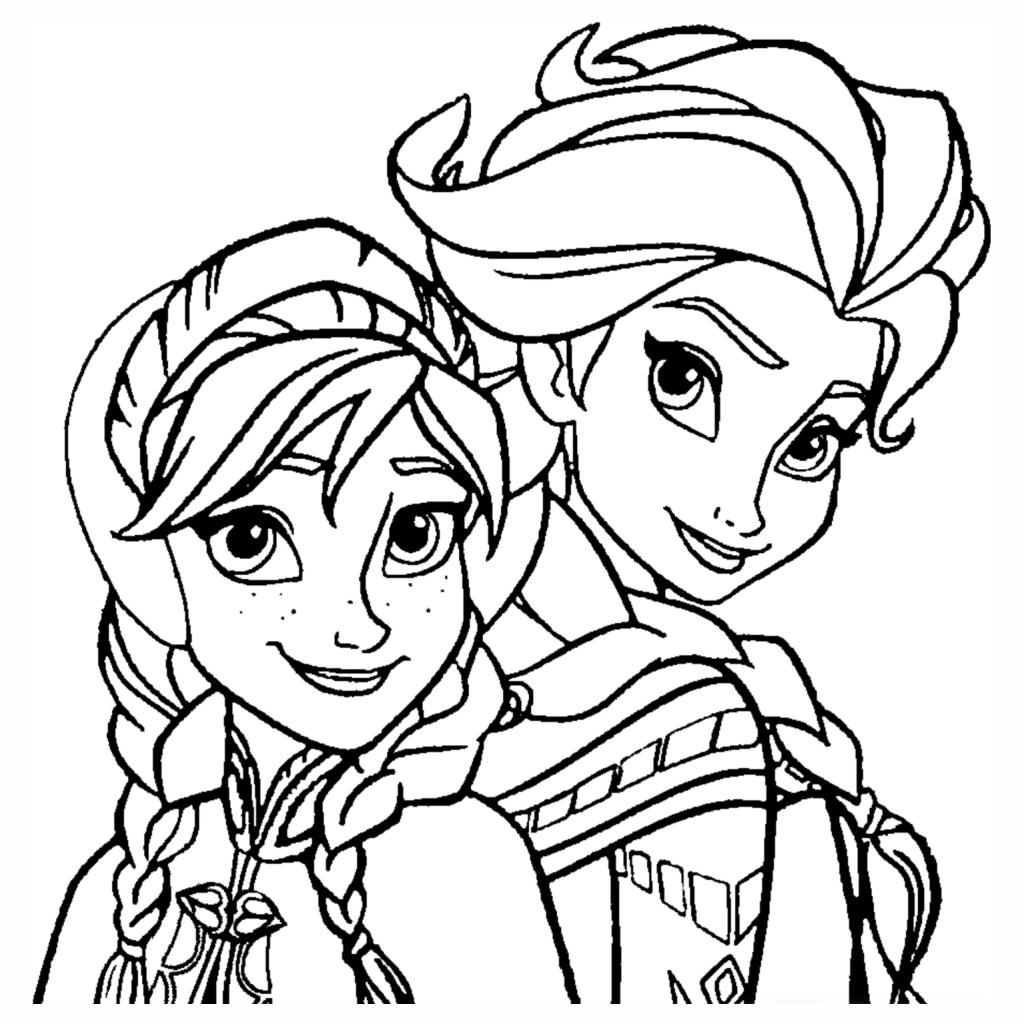 desenhos para colorir Elsa e Anna - Frozen