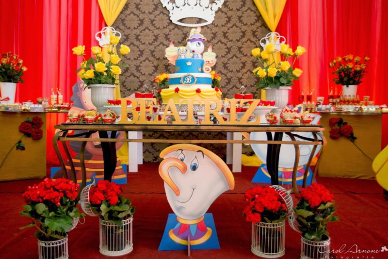 decoração festa infantil a bela e a fera