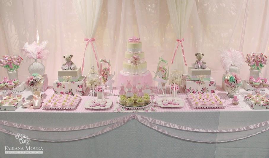 Decoração de mesa para festa infantil bailarina