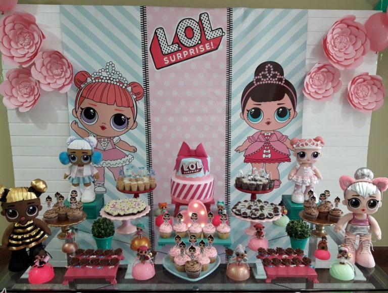 Decoração de festa infantil boneca LOL