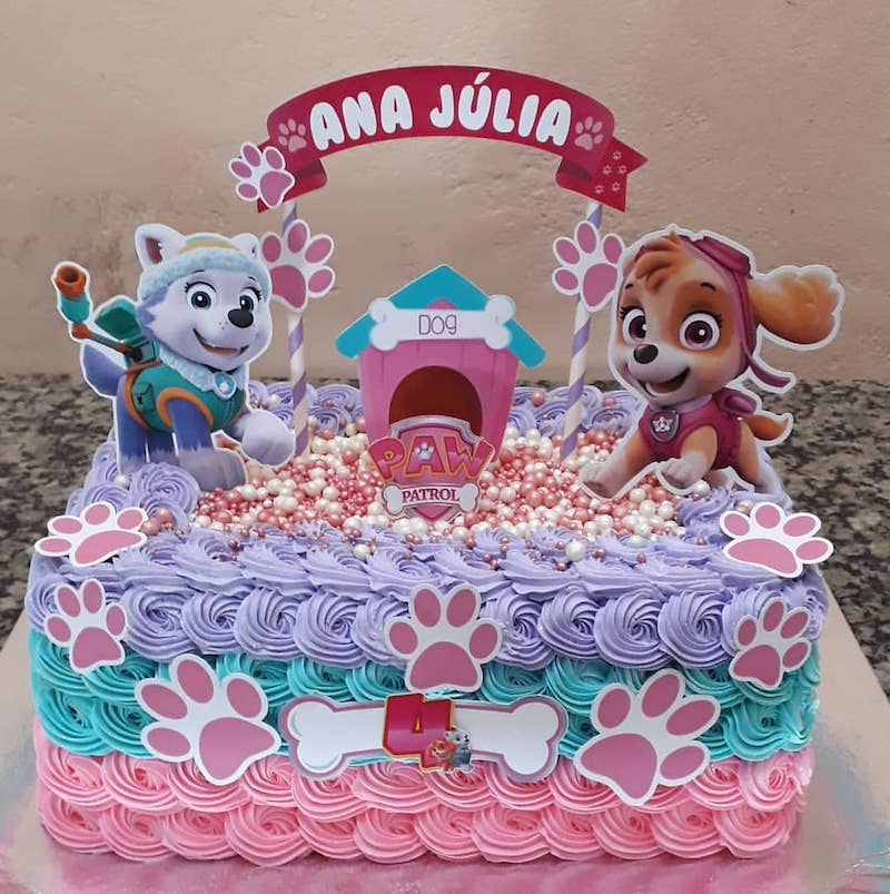 Bolo rosa Festa Infantil Patrulha Canina