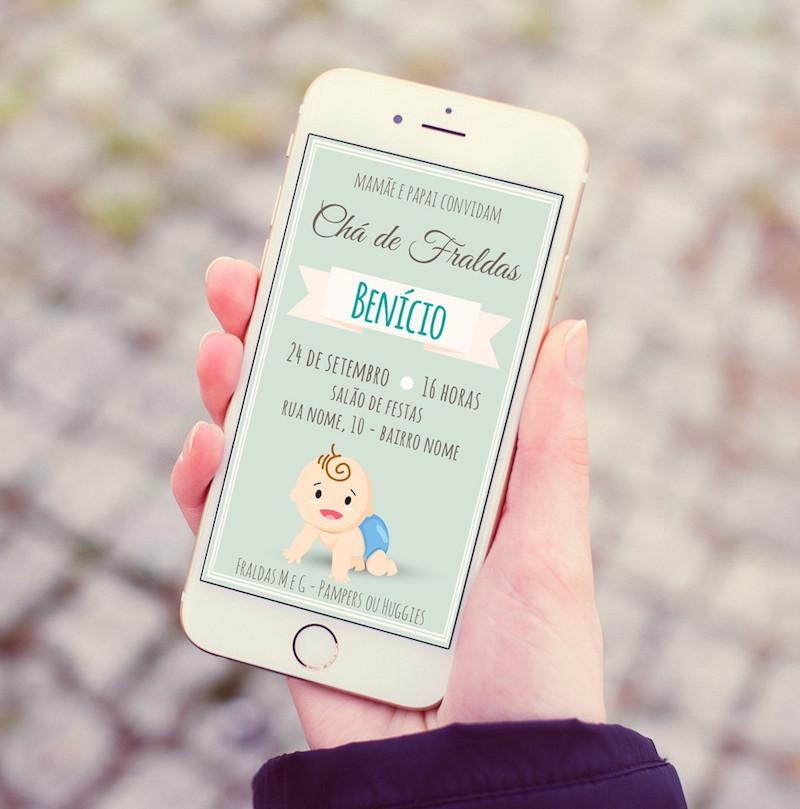 convite digital para chá de bebê econômico