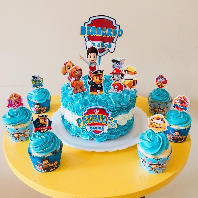 bolo e cupcake Festa Infantil Patrulha Canina