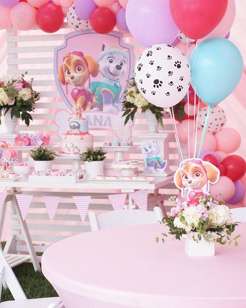 Festa Infantil Patrulha Canina rosa