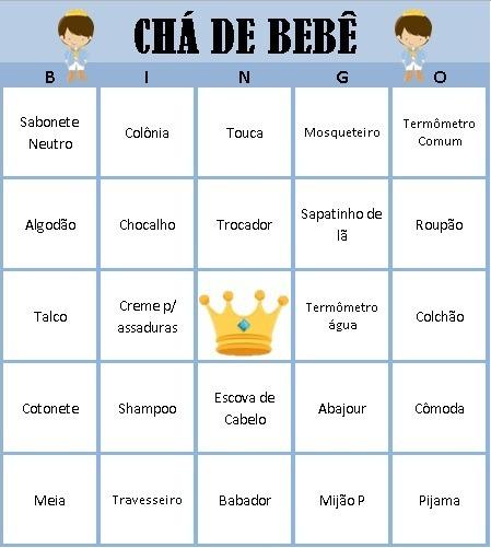 bingo chá de bebê
