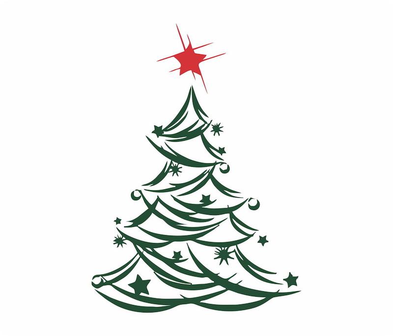 dica de árvore de natal com adesivo