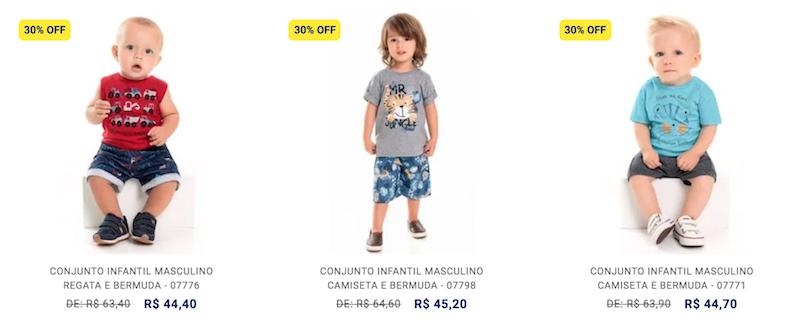 liquidação de verão moda infantil menino