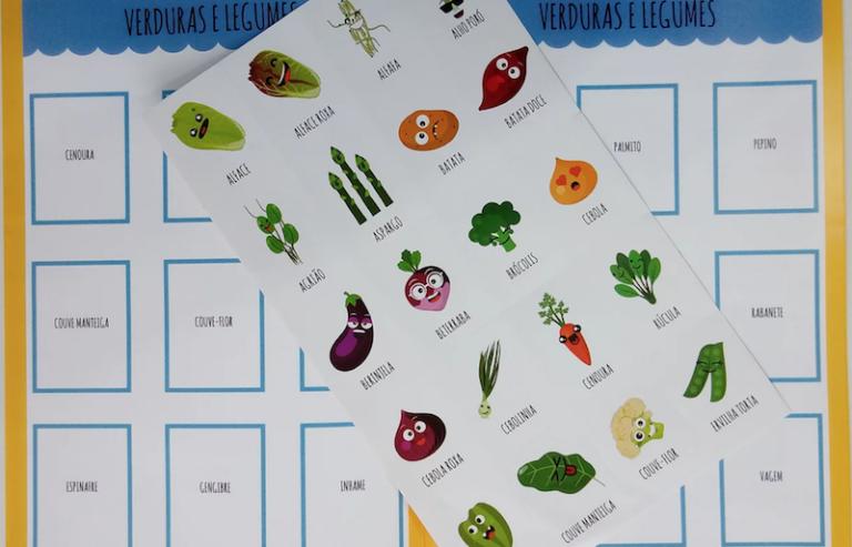 Álbum de figurinhas que ajuda na alimentação das crianças